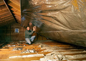 A radiant barrier installed in a Pasadena attic